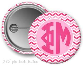 Phi Mu Chevron Monogram Button