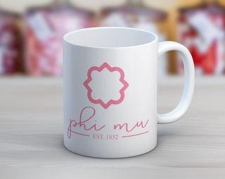 Phi Mu Established Coffee Mug
