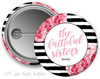 Phi Mu Floral Motto Button