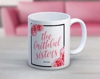 Phi Mu Floral Motto Coffee Mug