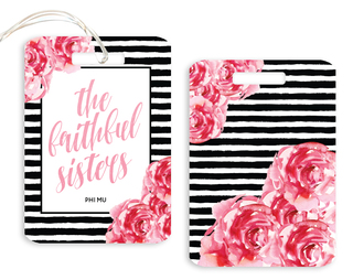 Phi Mu Floral Motto Luggage Tag
