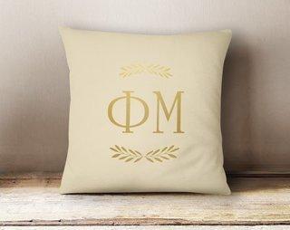 Phi Mu Foil Letters Pillow