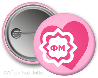 Phi Mu Heart Mascot Button