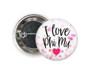 Phi Mu I Love Heart Bursting Button