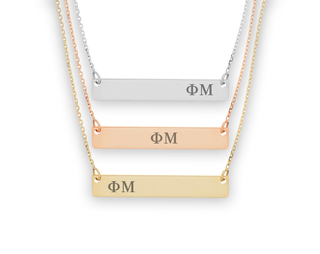 Phi Mu Letters Bar Necklace