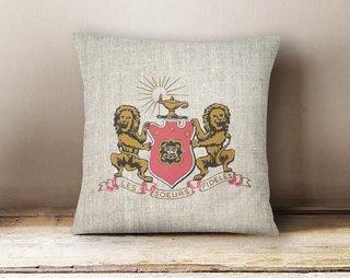 Phi Mu Linen Crest - Shield Pillow