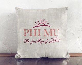 Phi Mu Linen Sun Pillow