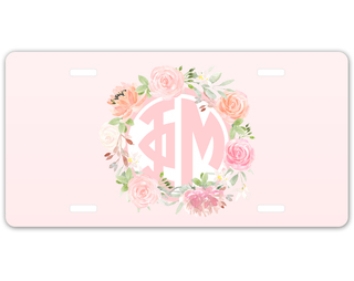 Phi Mu Monogram License Plate