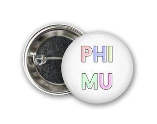 Phi Mu Pastel Letter Button