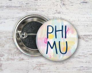 Phi Mu Pastel Strokes Button