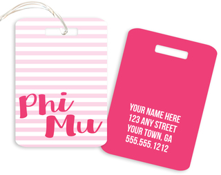 Phi Mu Personalized Striped Luggage Tag