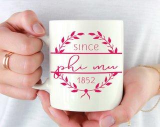 Phi Mu Since Established Coffee Mug