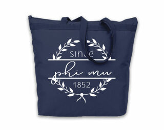 Phi Mu Since Established Tote bag