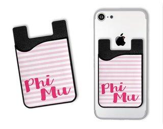 Phi Mu Sorority Stripes Caddy Phone Wallet