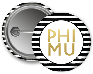 Phi Mu Striped Button