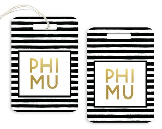 Phi Mu Striped Gold Luggage Tag