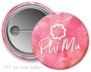 Phi Mu Watercolor Script Button