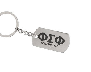 Phi Sigma Phi Dog Tag Style Custom Keychain