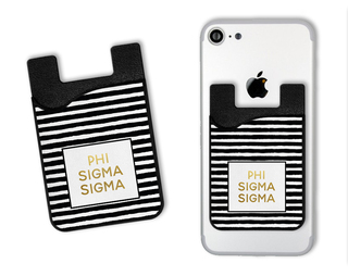 Phi Sigma Sigma Gold Stripes Caddy Phone Wallet