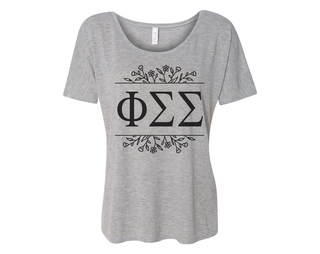Phi Sigma Sigma Floral Letters Flowy Tee