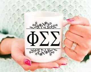 Phi Sigma Sigma Floral Letters Mug
