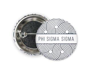 Phi Sigma Sigma Geo Scroll Button Pin