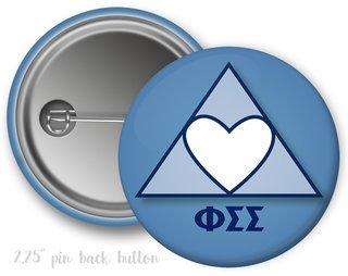 Phi Sigma Sigma Heart Mascot Button