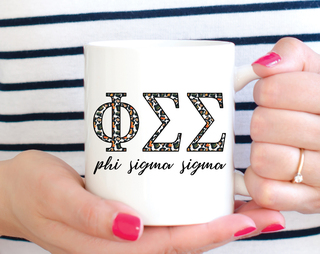 Phi Sigma Sigma Leopard Mug