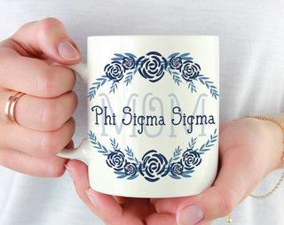 Phi Sigma Sigma Mom Floral Mug