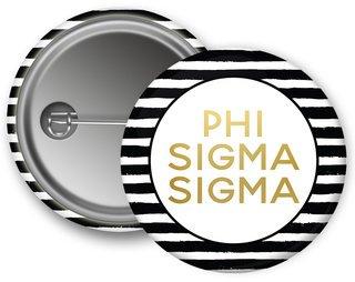 Phi Sigma Sigma Striped Button