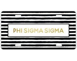 Phi Sigma Sigma Striped Gold License Plate