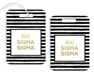 Phi Sigma Sigma Striped Gold Luggage Tag