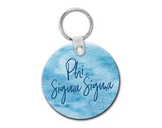 Phi Sigma Sigma Watercolor Keychain