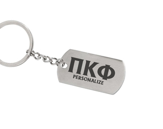 Pi Kappa Phi Dog Tag Style Custom Keychain