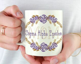 Sigma Alpha Epsilon Mom Floral Mug