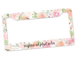 Sigma Alpha Iota Floral License Plate Frame