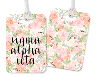 Sigma Alpha Iota Personalized Pink Floral Luggage Tag