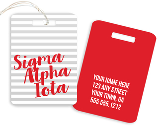 Sigma Alpha Iota Personalized Striped Luggage Tag