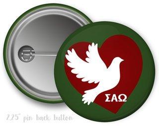 Sigma Alpha Omega Heart Mascot Button