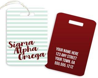 Sigma Alpha Omega Personalized Striped Luggage Tag