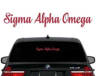 Sigma Alpha Omega Script Decal