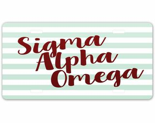 Sigma Alpha Omega Striped License Plate