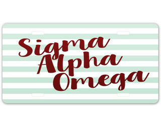 Sigma Alpha Omega Striped License Plate
