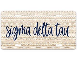 Sigma Delta Tau Aztec License Plate