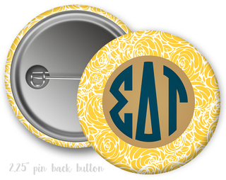 Sigma Delta Tau Floral Button