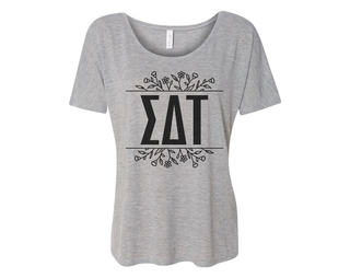 Sigma Delta Tau Floral Letters Flowy Tee