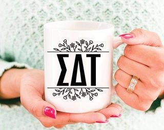 Sigma Delta Tau Floral Letters Mug