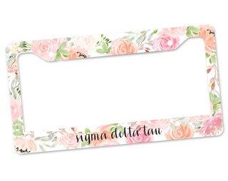 Sigma Delta Tau Floral License Plate Frame
