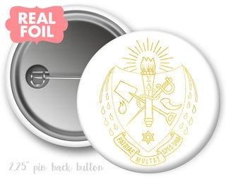 Sigma Delta Tau Foil Crest - Shield Button