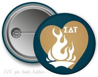 Sigma Delta Tau Heart Mascot Button